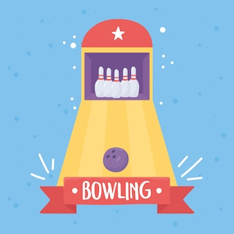 Bolos bola pasadores juego de mesa deporte recreativo diseño plano ilustración vectorial