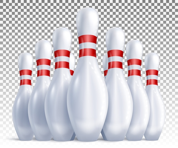 Bolos dispuestos para vista frontal de juegos y torneos.