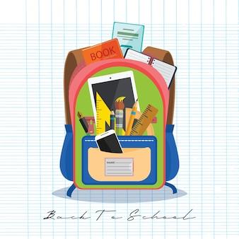 Bolsa abierta de vectores con efectos de escritorio y útiles escolares. volver a la ilustración de la escuela