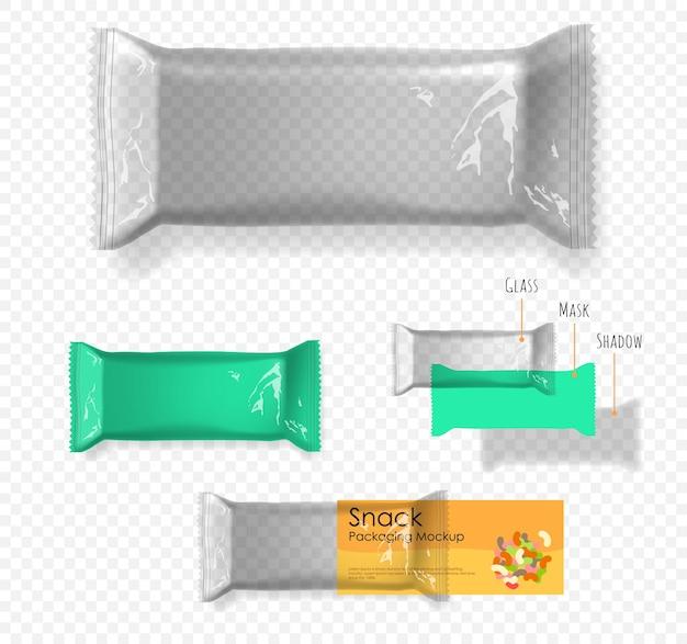 Bolsa almohada transparente para snacks. ilustración sobre fondo transparente. embalaje listo para su diseño.
