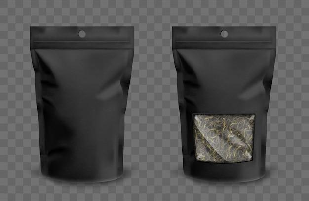 Bolsa de aluminio con cremallera y ventana de plástico para té.
