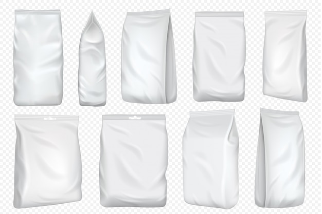 Bolsa de aluminio. paquete de plástico y plantilla de bolsa de papel. bolsa de papel de comida en blanco para merienda aislado sobre fondo transparente. paquete blanco simulado para café y té.