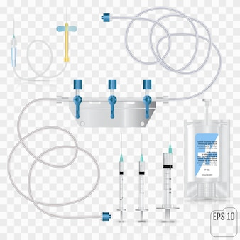 Bolsa de antibióticos intravenosos e infusión de plástico.