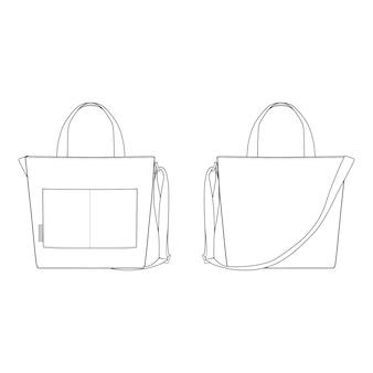 La bolsa de asas de la lona de moda plantillas planas