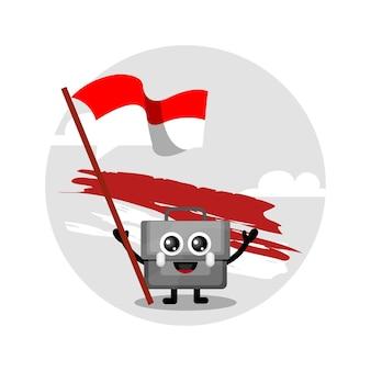 Bolsa bandera indonesia mascota personaje logo