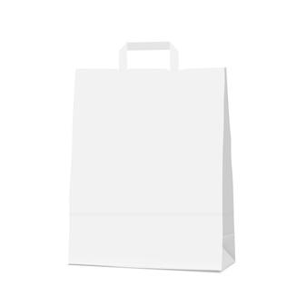 Bolsa blanca de papel comercial en blanco