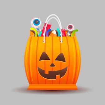 Bolsa de calabaza de halloween realista