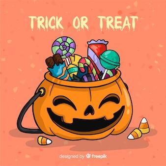 Bolsa de caramelos de halloween colorida dibujada a mano