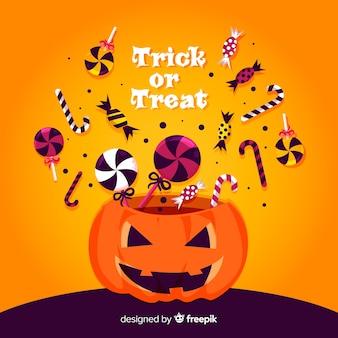 Bolsa de caramelos de halloween colorida con diseño plano