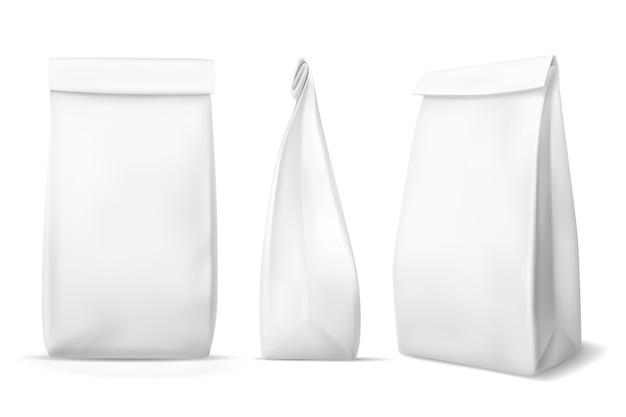 Bolsa de comida de papel blanco.