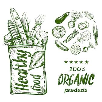 Bolsa de comida sana dibujada a mano