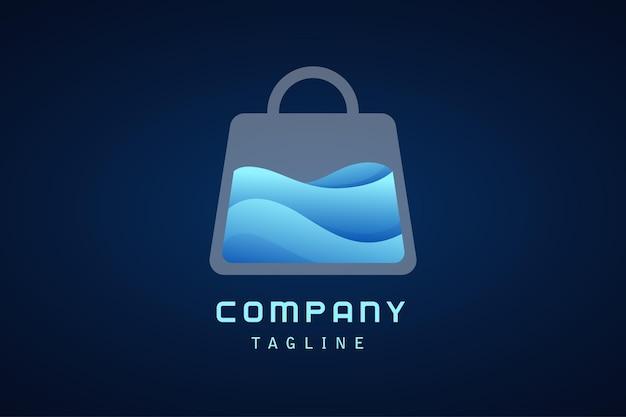 Bolsa de compras blanca con logo degradado de agua azul ola