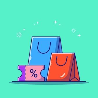 Bolsa de compras y cupón de descuento sorteo ilustración plana icono aislado