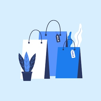Bolsa de compras con etiqueta de venta en estilo plano.