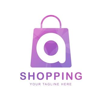Bolsa de compras con la letra a, plantilla de logotipo de tienda online.