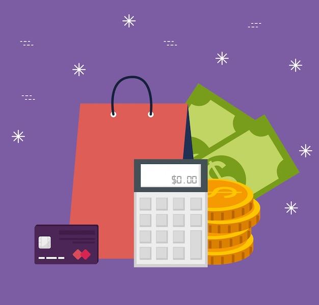 Bolsa de compras en línea con billetes y monedas
