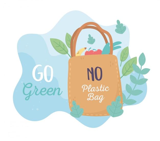 Bolsa de compras mercado medio ambiente ecología diseño de dibujos animados