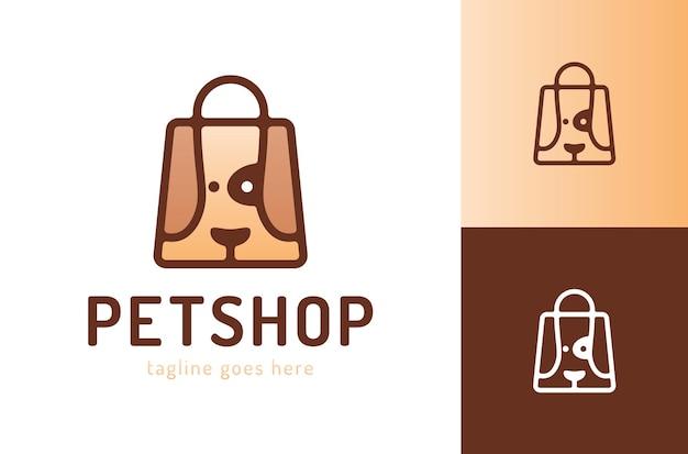 Bolsa de compras con perro símbolo del logotipo de la tienda de mascotas logotipo de la tienda de mascotas