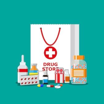 Bolsa de compras con píldoras médicas y botellas