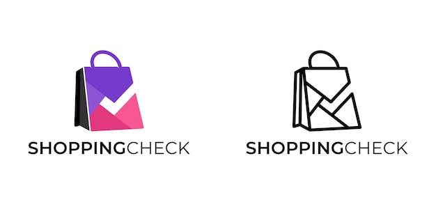 Bolsa de compras con plantilla de inspiración de logotipo de signo de lista de verificación