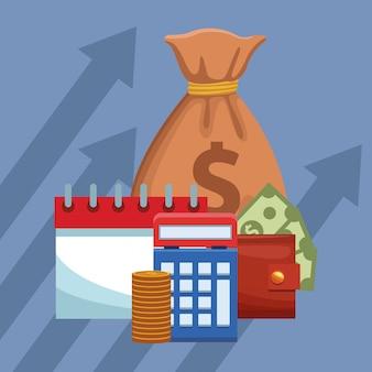 Bolsa de dinero con horario y calculadora