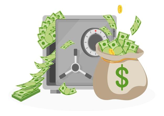 Bolsa de dinero y caja fuerte bancaria. equipo para el almacenamiento seguro de dinero. protección, garantía de depósitos bancarios. ilustración de vector plano.
