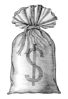 Bolsa de dinero dibujar a mano vintage grabado aislado sobre fondo blanco