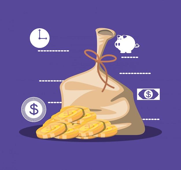 Bolsa de dinero con monedas y establecer iconos
