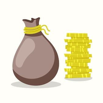 Bolsa de dinero y monedas. ilustración de vector de estilo plano