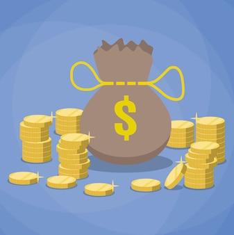 Bolsa de dinero y montones de monedas de oro.