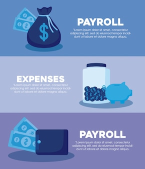 Bolsa de dinero con set iconos economía finanzas