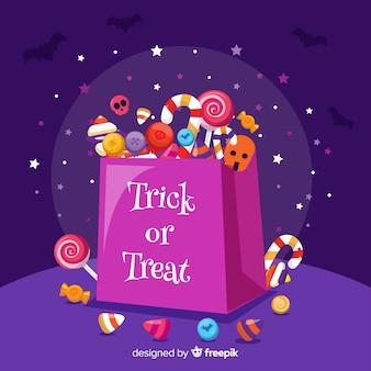 Bolsa de dulces de halloween de diseño plano