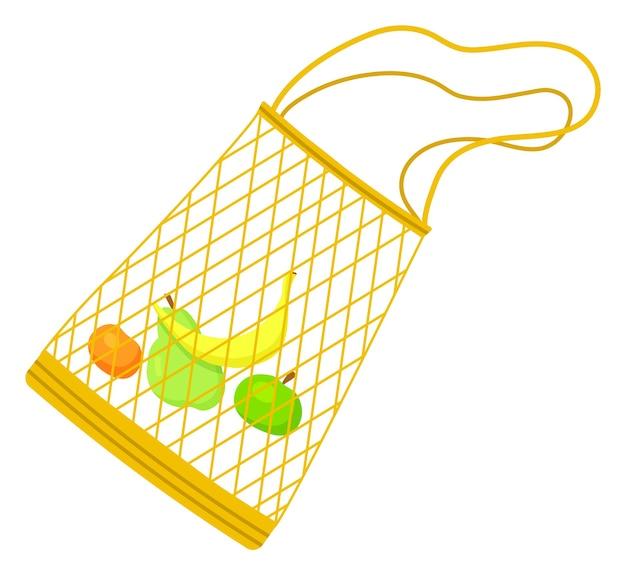 Bolsa ecológica de rejilla con plátano, manzana, pera y naranja en el interior