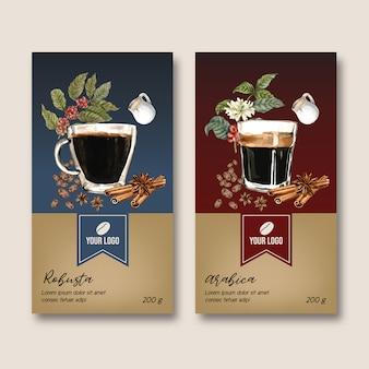 Bolsa de embalaje de café con rama hojas de frijol, americano, ilustración acuarela