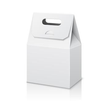 Bolsa de embalaje de papel blanco en blanco con asa