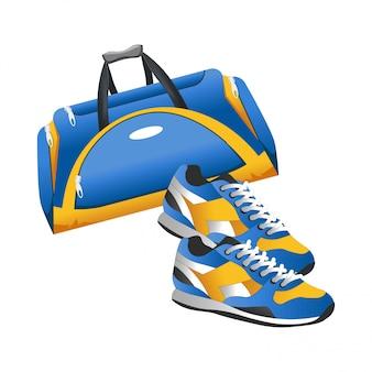 Bolsa de entrenamiento con accesorios deportivos y zapatillas planas.