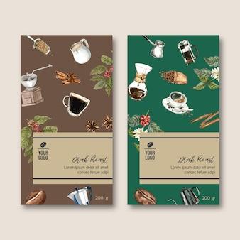 Bolsa de envasado de café con rama hojas de frijol, cosecha, ilustración acuarela