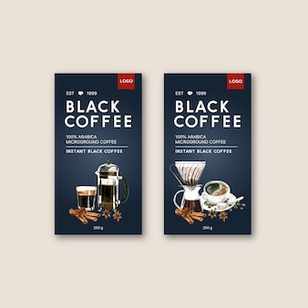 Bolsa de envasado de café con taza de café americano, ilustración acuarela