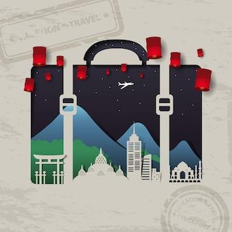 Bolsa de equipaje de viaje elementos de concepto de viajes y vacaciones.