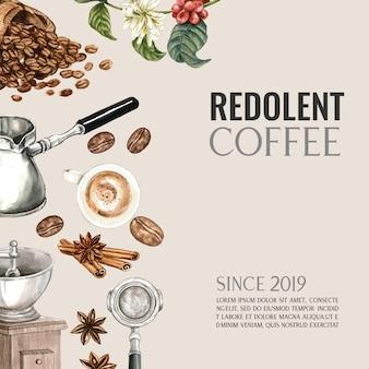Bolsa de granos de café arábica con taza de café americano, canela cafetera ilustración acuarela
