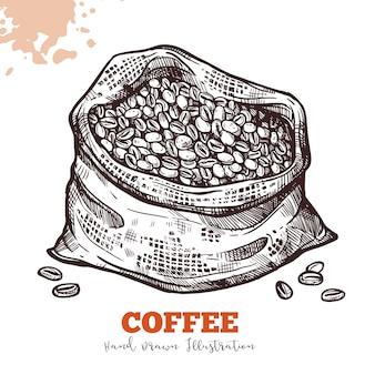 Bolsa con granos de café en estilo grabado