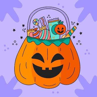 Bolsa de halloween dibujada a mano