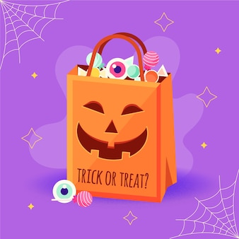 Bolsa de halloween de diseño plano con calabaza