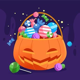 Bolsa de halloween de diseño plano