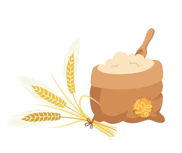 Bolsa de harina y ramo de espigas de trigo, pala de madera, composición de dibujos animados montón de harina