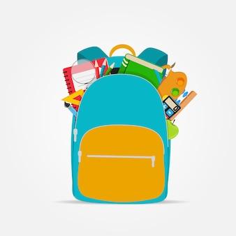 Bolsa, icono de mochila con accesorios escolares.