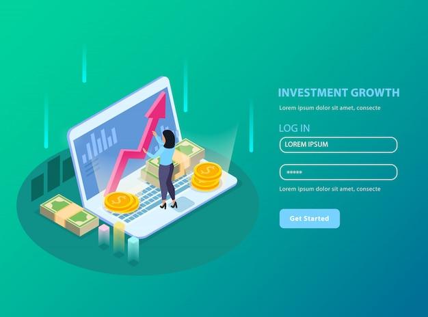 Bolsa isométrica con título de crecimiento de inversión e ilustración de formulario de registro