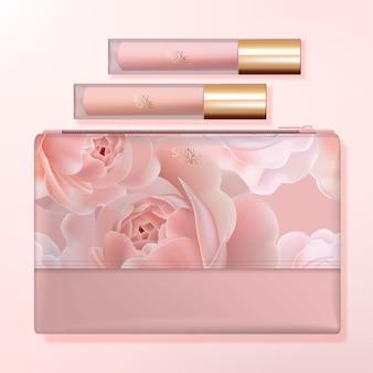 Bolsa de lavado, kit de viaje o bolsa de cosméticos de belleza con empaque de brillo labial. patrón rosa rosa impreso.