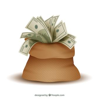 Bolsa llena de billetes