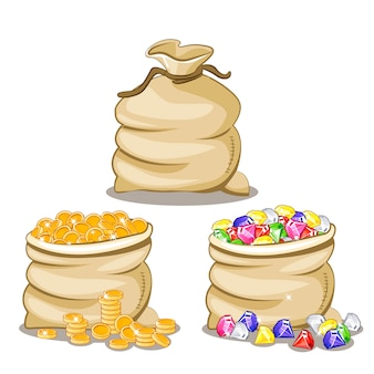 Bolsa llena de diamantes y monedas